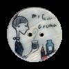 """Bouton 2 trous en nacre 25mm motif """"Caf"""