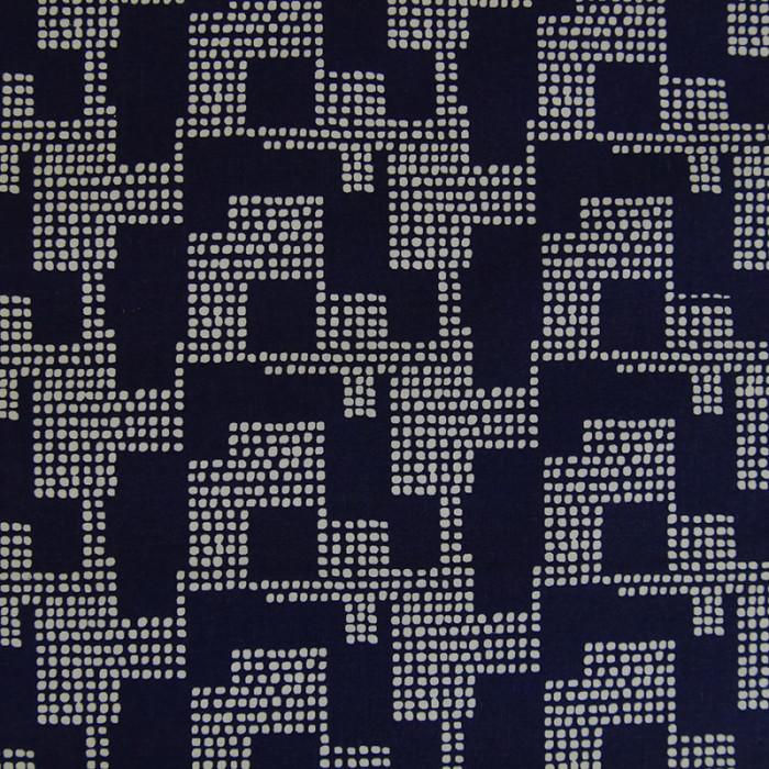 Tissu coton bleu foncé géométrique - Rico Design x 10 cm