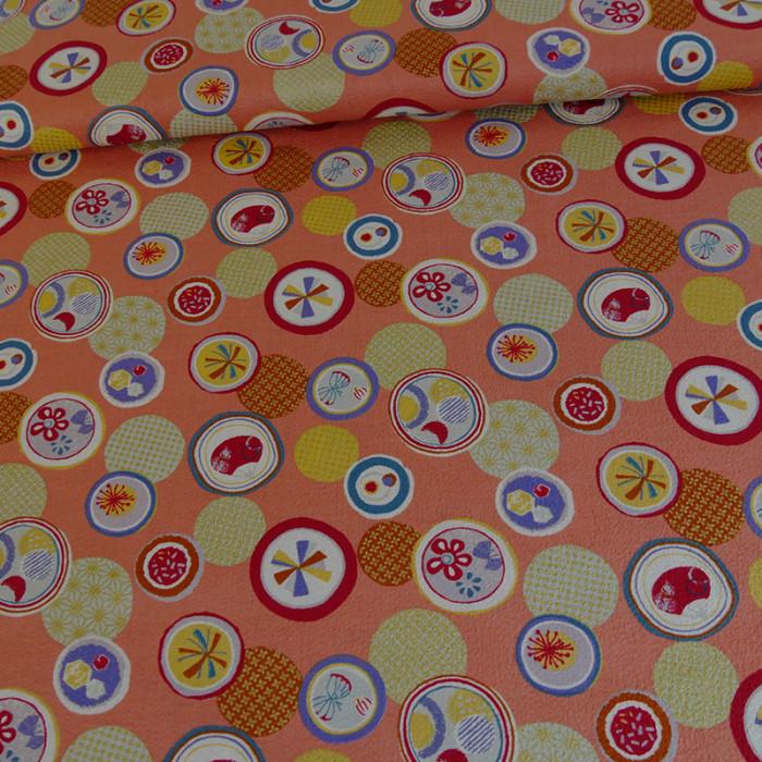 Tissu  japonais chirimen orange doré x 10 cm