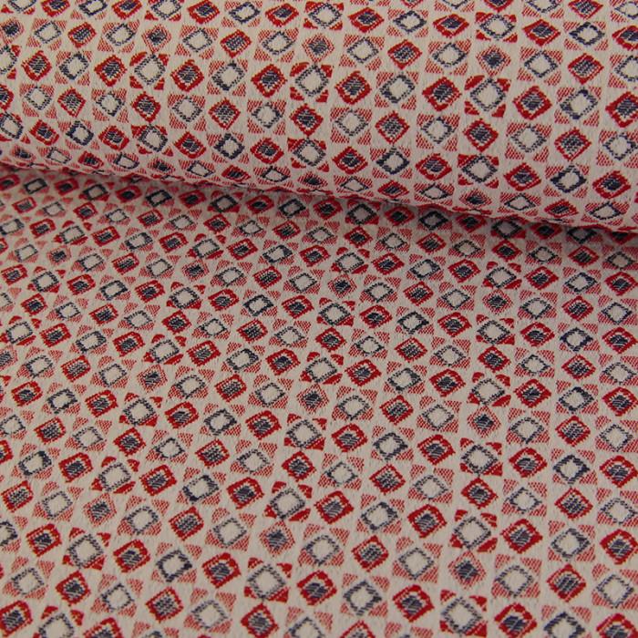 Tissu jacquard - rouge x 10 cm