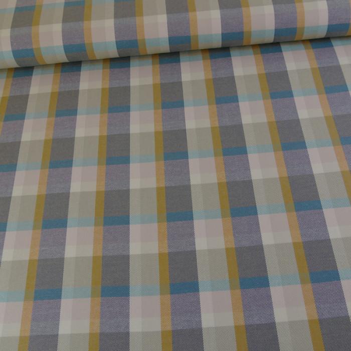 Tissu coton carreaux - gris ocre x 10 cm