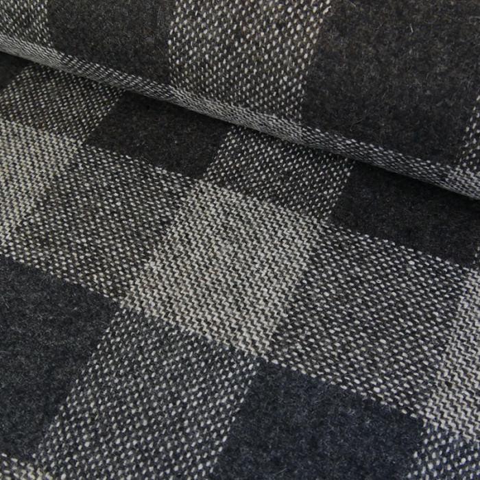 Tissu lainage carreaux - gris x 10 cm