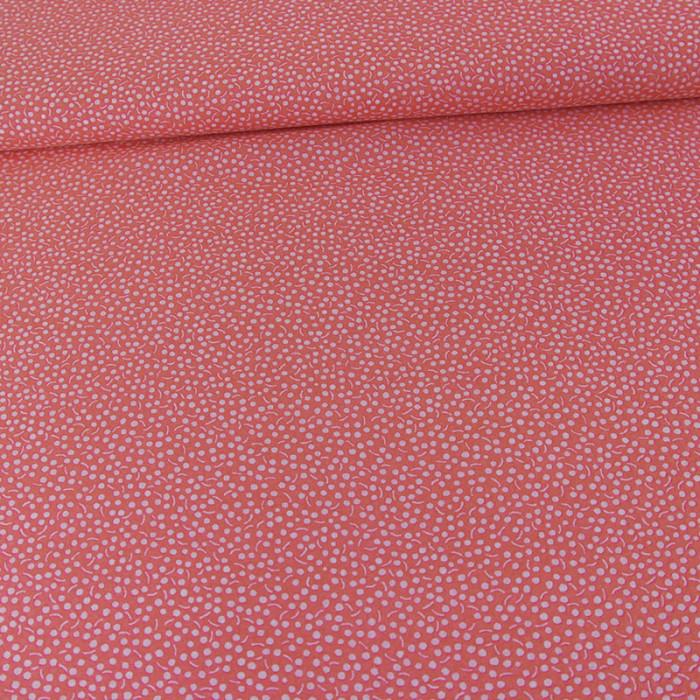 Tissu voile de coton fantaisie - fraise x 10 cm