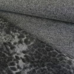 Tissu lainage maille léopard - gris x 10 cm