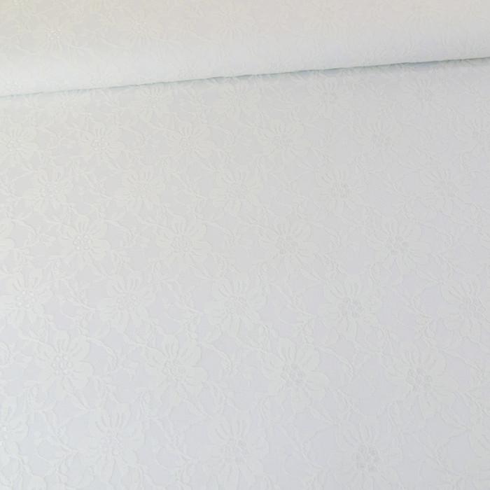 tissu brodé stretch - blanc x 10 cm