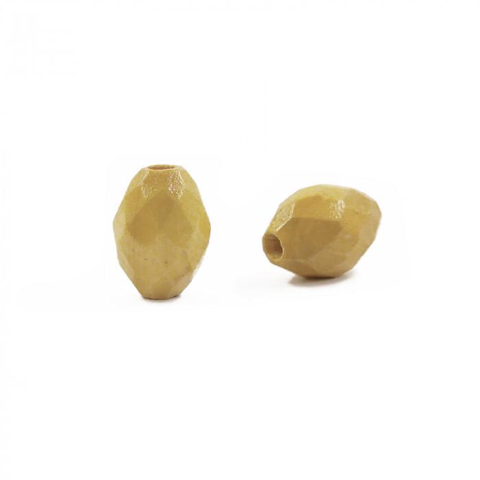 Perle en bois oblongue facettée x1