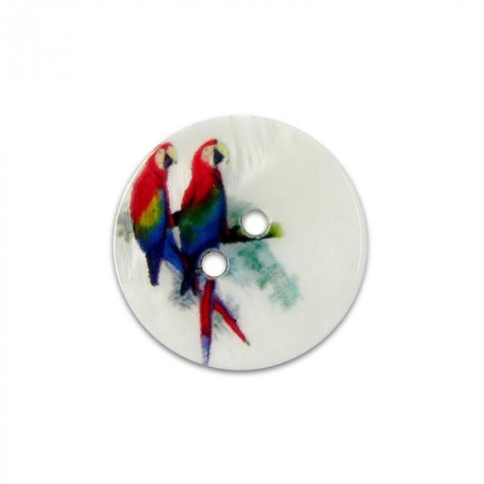 Bouton en nacre motif perroquets