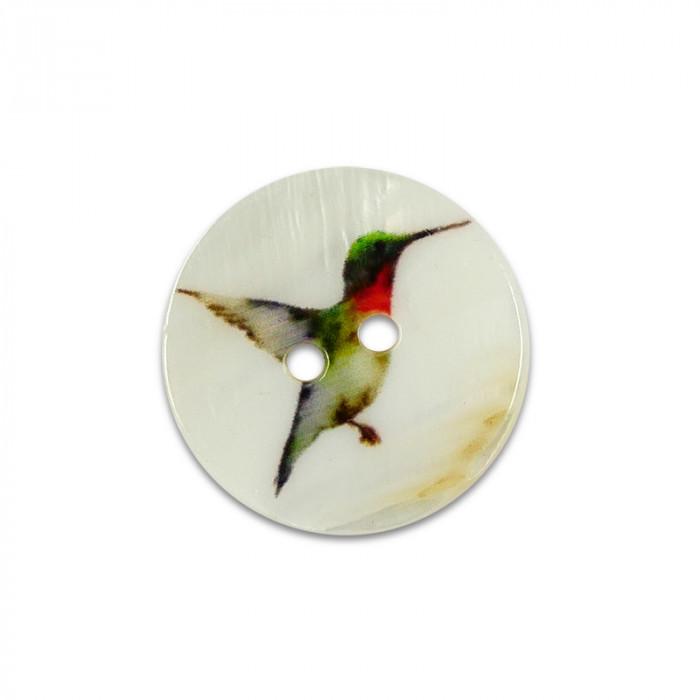Bouton en nacre motif colibri