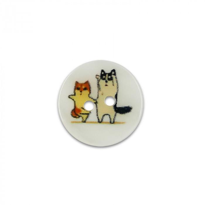 Bouton en nacre 15 mm - chatons