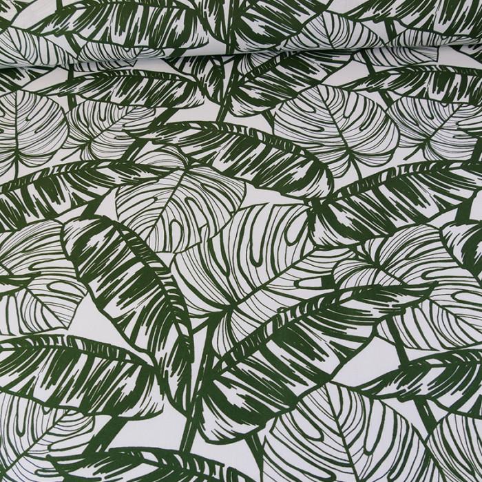 Tissu coton palmiers - vert x 10 cm