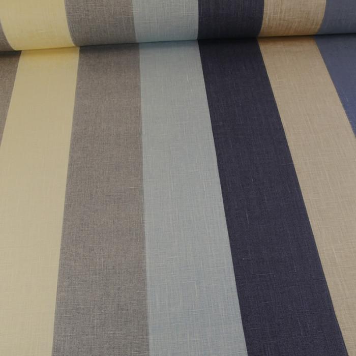 Tissu lin rayures Stof - Bleu x 10 cm