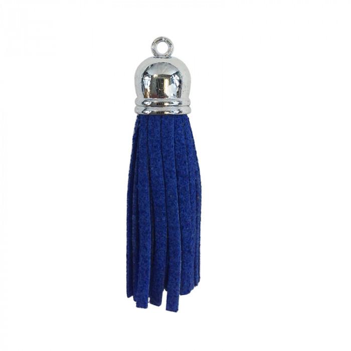 Pendentif pompon metal et suedine 58mm bleu marine x1
