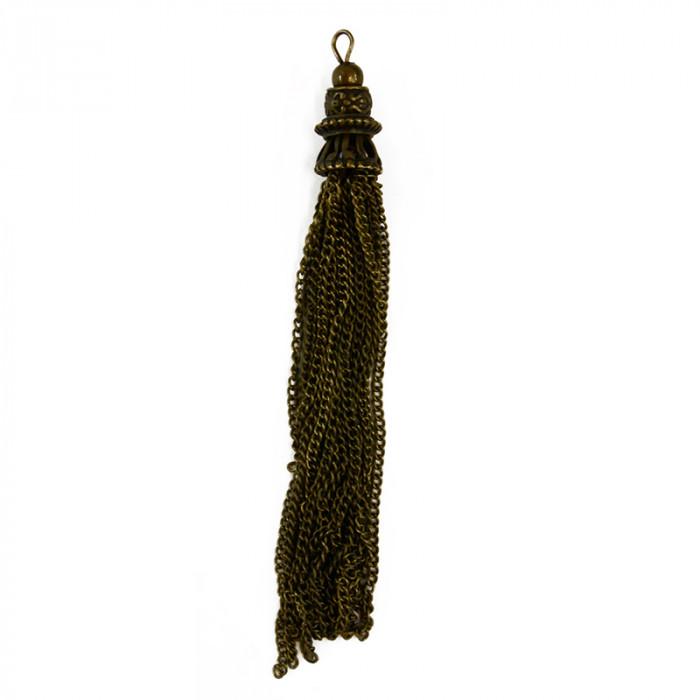 Pendentif pompon chaîne 10cm bronze x1