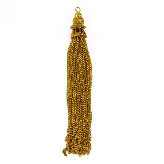 Pendentif pompon chaîne 10cm doré x1