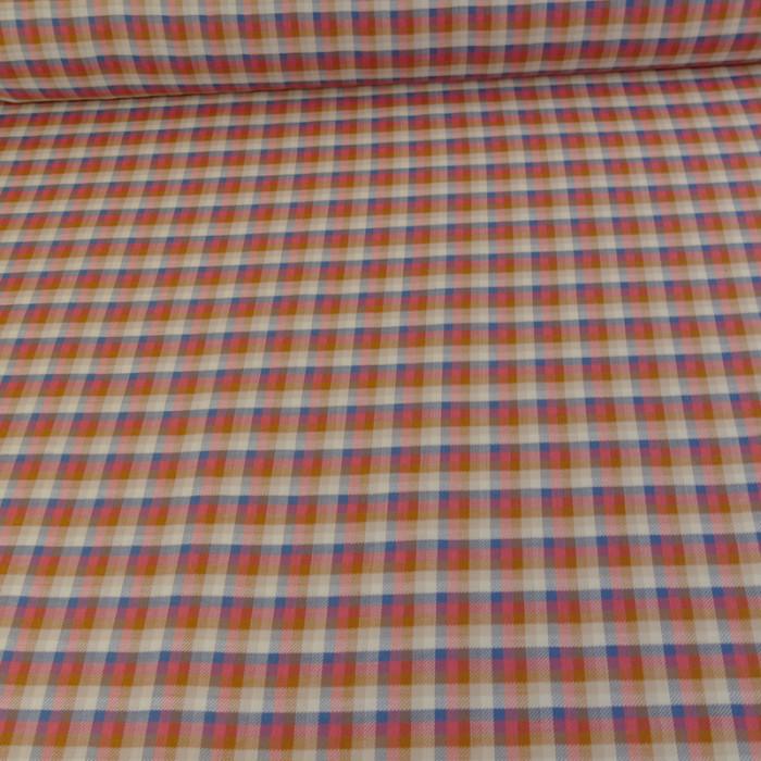Tissu coton carreaux - rose x 10 cm