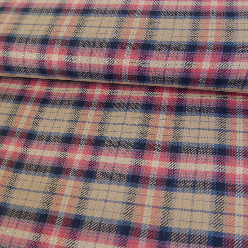 tissu coton carreaux lurex rose tissu fin de stock
