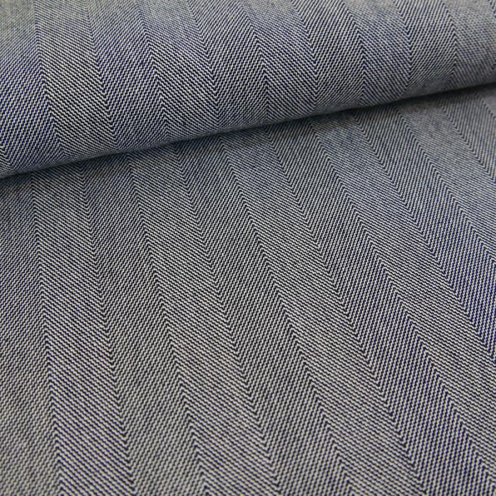 Tissu coton rayures - bleu x 10 cm