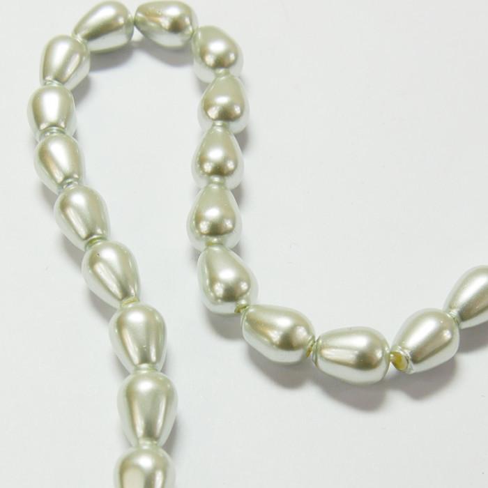 Perles nacrées goutte 20 x 14mm gris perle x1