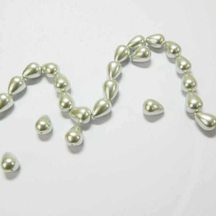 Perles nacrées goutte 14 x 10mm gris perle x1