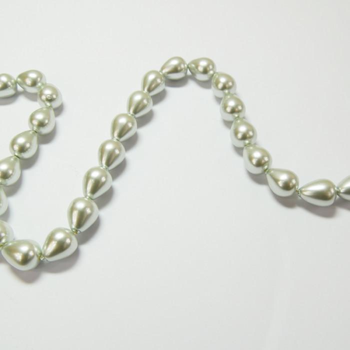 Perles nacrées goutte 12 x 10mm gris perle x1