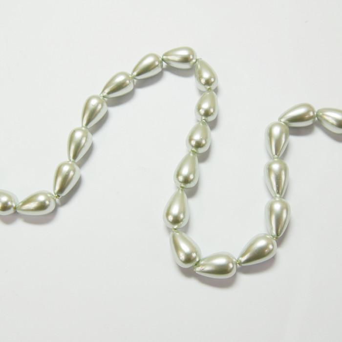 Perle nacrée goutte 14 x 8mm gris perle x1