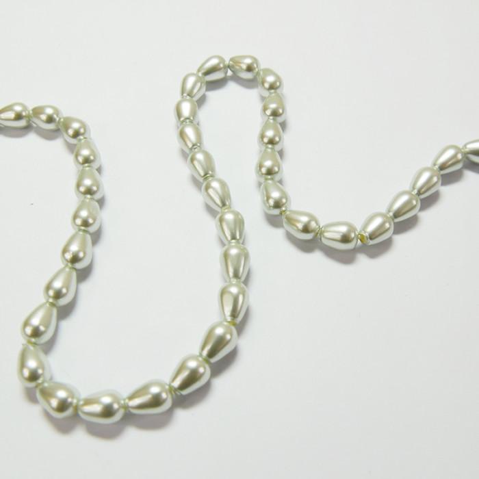 Perles nacrées goutte 9 x 6mm gris perle x1