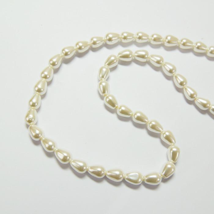 Perle nacrée goutte 9 x 6mm ecru x1