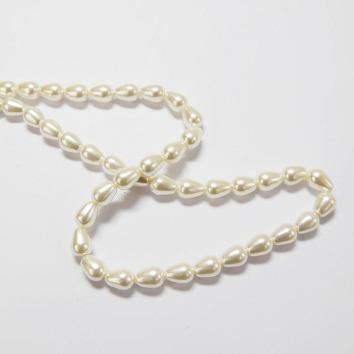 Perle nacrée goutte 9 x 6mm blanc x1