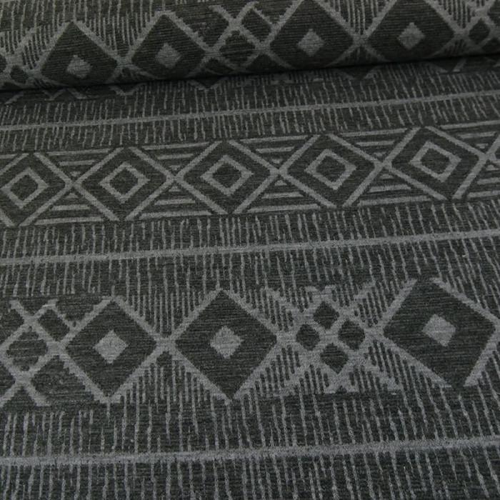 Tissu jersey maille ethnique - gris x 10 cm