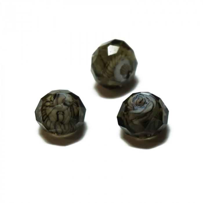 Perle facettée en verre gris et noir 6mm x5