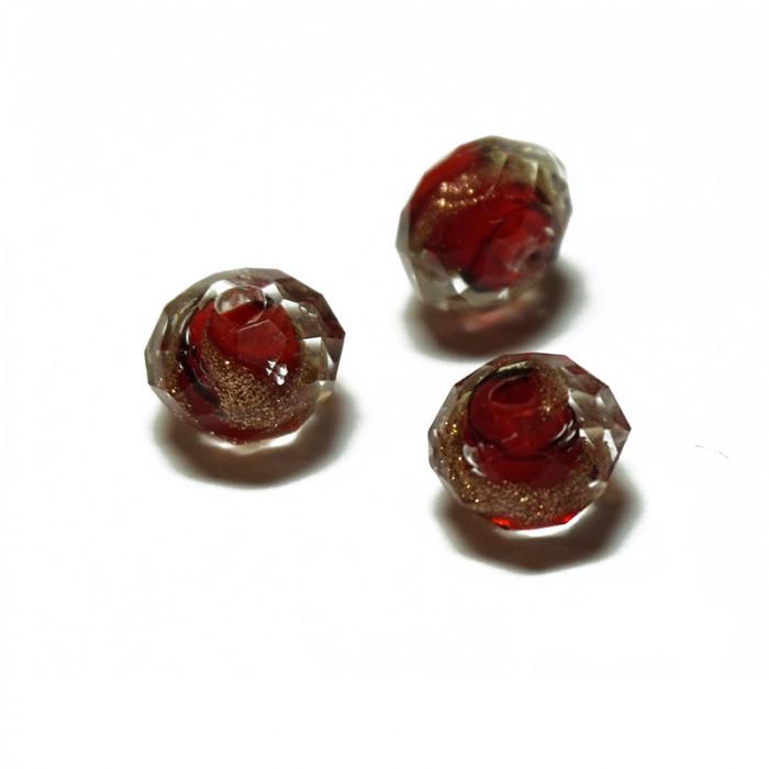 Perle facettée en verre rouge, doré et noir 6mm x5