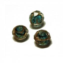 Perle facettée en verre bleu canard et doré 6mm x1