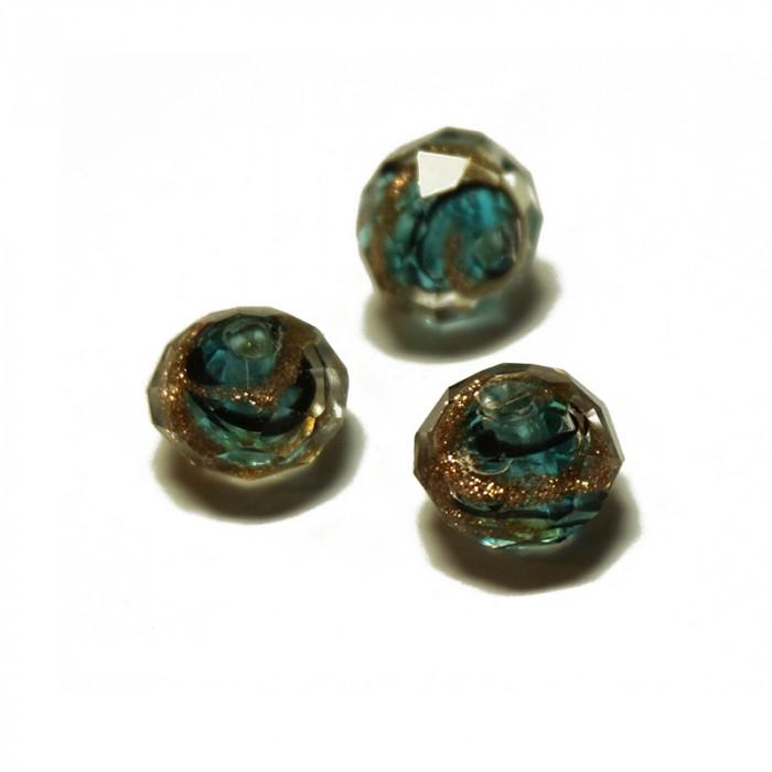 Perle facettée en verre bleu canard et doré 6mm x5