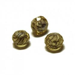 Perle facettée en verre jaune clair 6mm x1