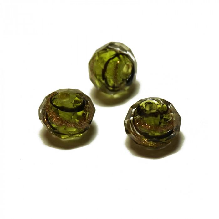 Perle facettée en verre vert, doré et noir 6mm x5