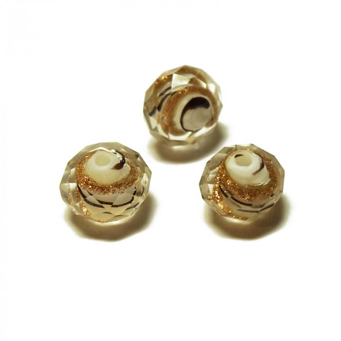 Perle facettée en verre blanc et doré 6mm x5