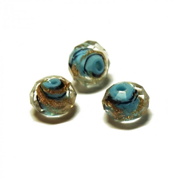 Perle facettée en verre bleu turquoise, doré et noir 6mm x5
