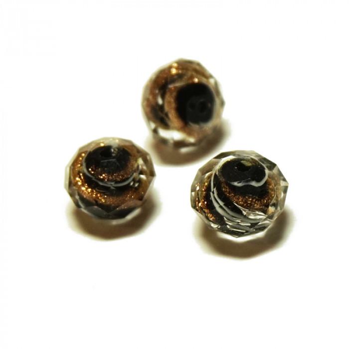 Perle facettée en verre noir et doré 6mm x5