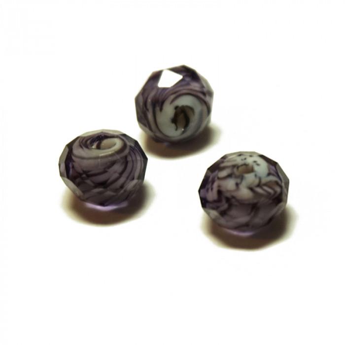 Perle facettée en verre violet et noir 6mm x5