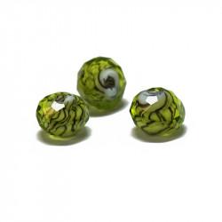 Perle facettée en verre vert brun 6mm x1
