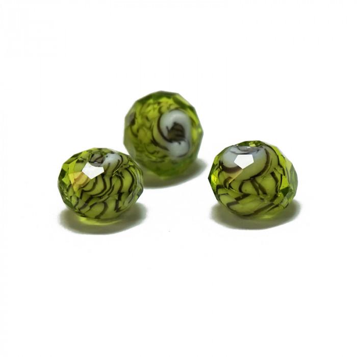 Perle facettée en verre vert et brun 6mm x5