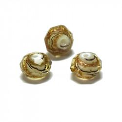 Perle facettée en verre jaune clair doré 6mm x1