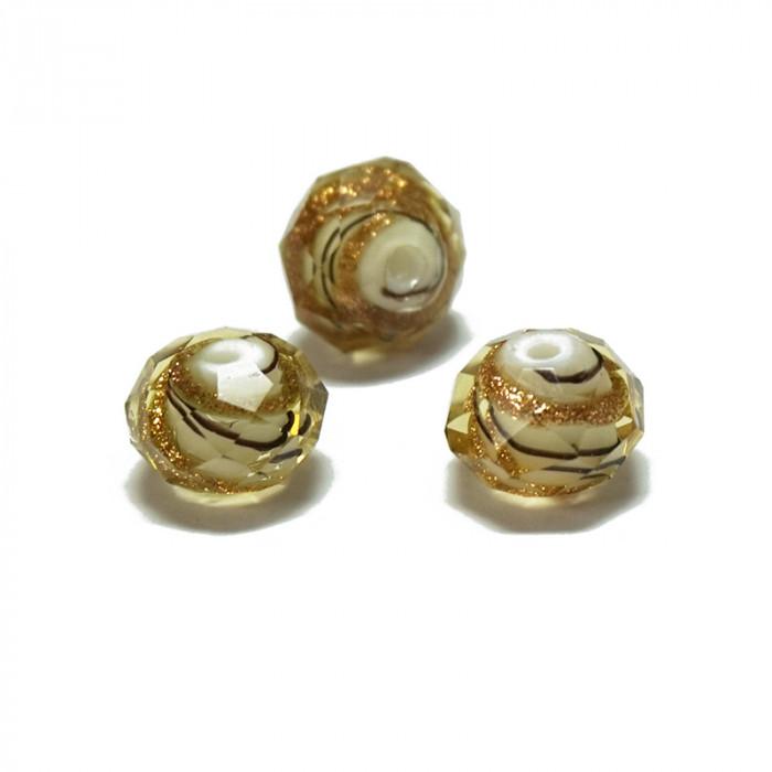 Perle facettée en verre jaune clair et doré 6mm x5