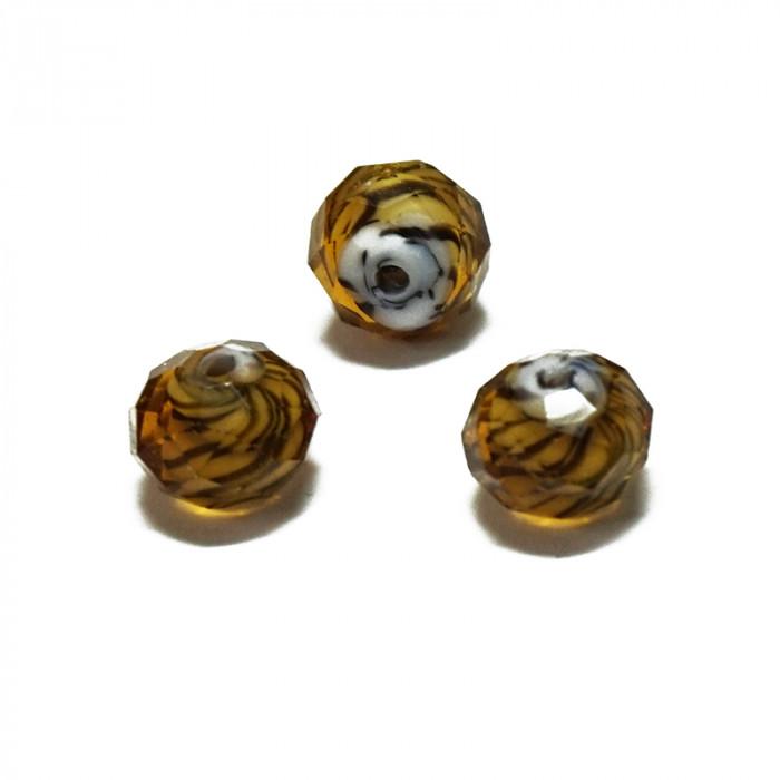 Perle facettée en verre orange et brun 6mm x5