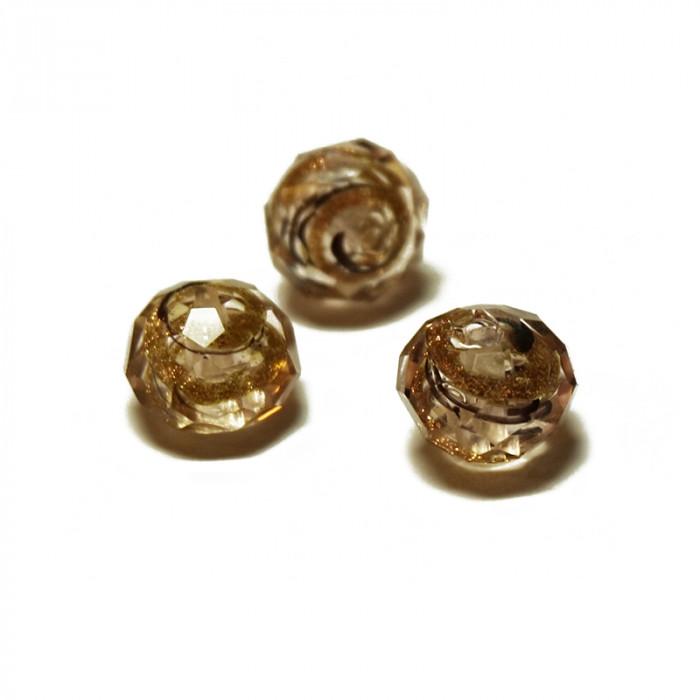 Perle facettée en verre rose, doré et brun 6mm x5
