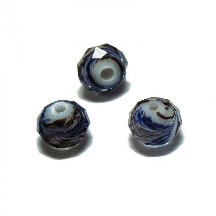 Perle facettée en verre blanc, violet et bleu 6mm x5