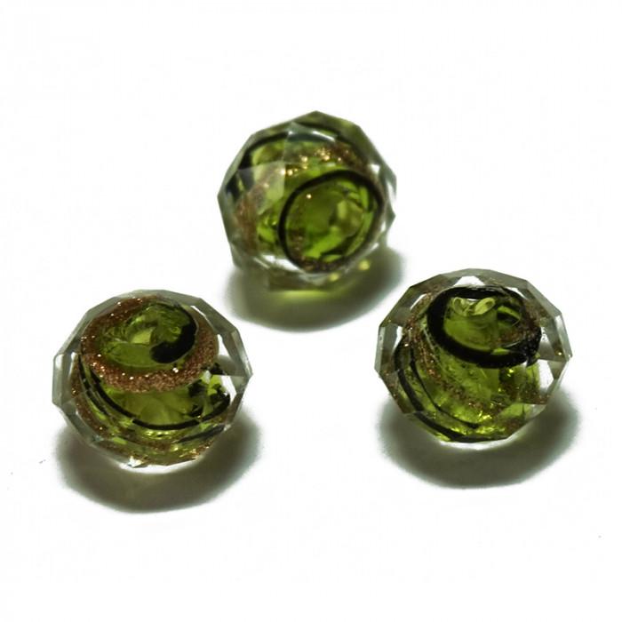 Perle facettée en verre vert, doré et noir 7mm x1