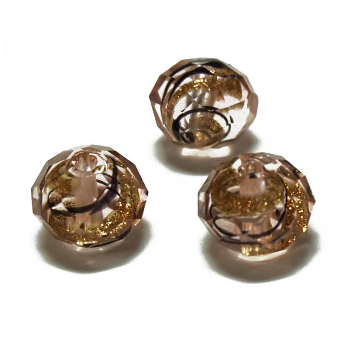 Perle facettée en verre rose, doré et brun 7mm x1