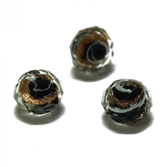 Perle facettée en verre noir, blanc et doré 7mm x1