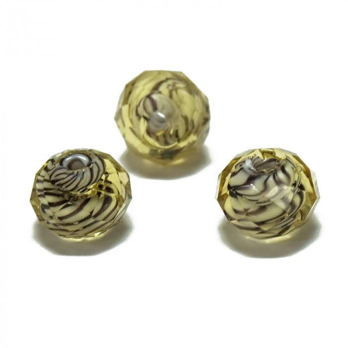 Perle facettée en verre jaune clair et brun 7mm x1